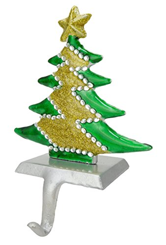 Tree Stocking Hanger (Christmas Tree Shaped Stocking Hanger With Jewels + Glitter Finish [Toy])