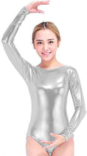 Speerise Girls Kids Long Sleeve Shiny Metallic Dance Gymnastics Leotard, Silver, 8-10