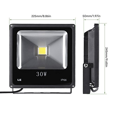 LE 30W Super Bright Outdoor LED Flood Lights, 75W HPS Bulb