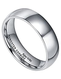 King Will BASIC Men's 6mm High Polished Comfort Fit Domed Tungsten Carbide Ring Wedding Band