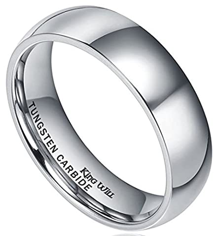 King Will BASIC Men's 6mm High Polished Comfort Fit Domed Tungsten Carbide Ring Wedding Band(11)