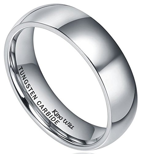 King Will Men's 6mm High Polished Comfort Fit Domed Tungsten Carbide Ring Wedding Band(10.5)
