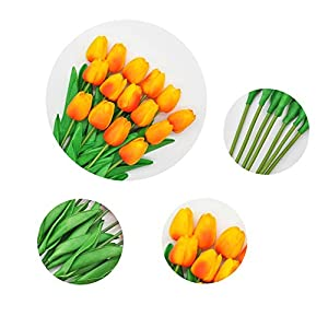 SHINE-CO LIGHTING Single Stem Real PU Touched Artificial Tulips 10 Pcs Arrangement Bouquet with Glorious Moral for Home Office Wedding Parties 2