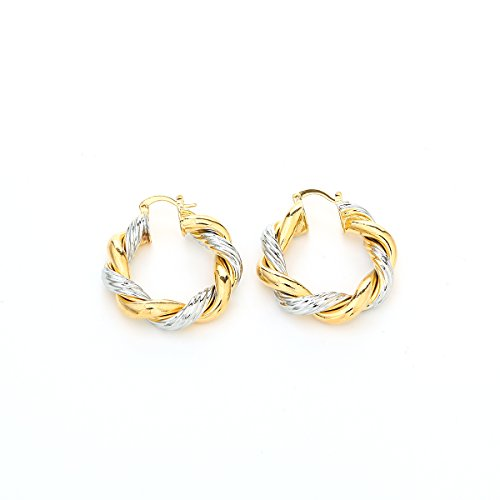 African 24K Gold Platinum Plated Two Tone Round Twisted Hoop Earring Jewelry Women Thick Size Earrings (G32)