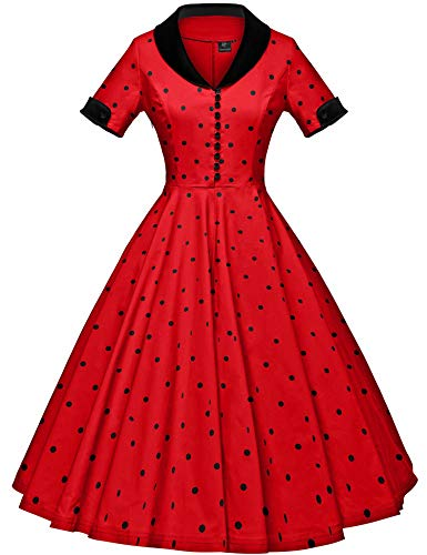GownTown Womens 1950s Cape Collar Vintage Swing Stretchy Dresses -