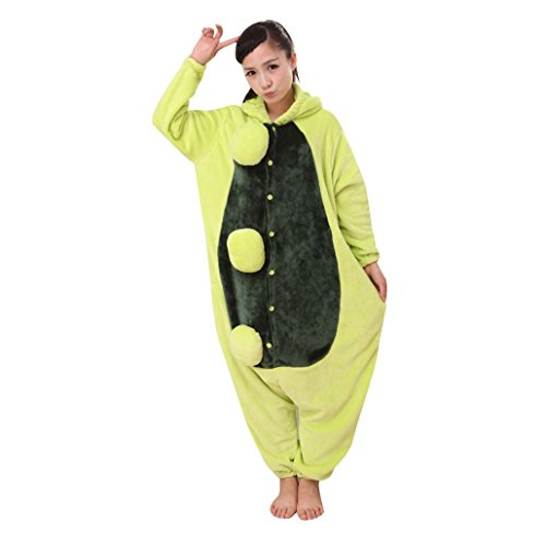 Green Bean Costumes (KSJK Unisex Adult Super Cute Animal Bean Sprout Cosplay Costume Onepiece Dress)