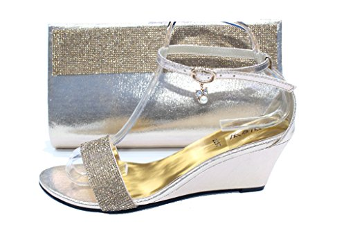 Size Ladies Matching Women Crystal amp;w Wear W Sandals Shoes Evening Gold san Bag Diamante 2257b amp; qA7E1vW