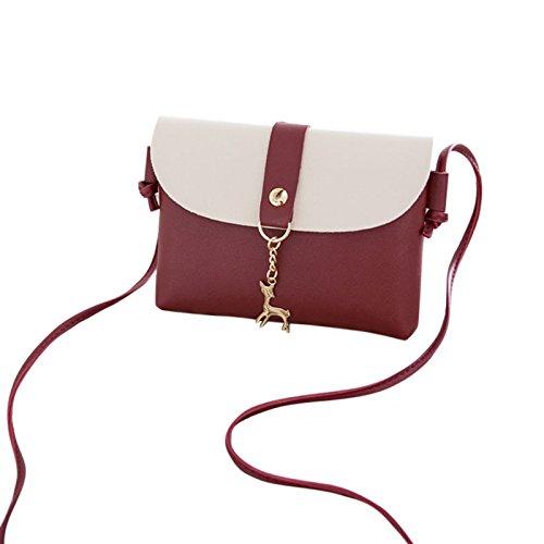 la de dinero manera bolso Majome de del bolsa Bolso la de Wine Red de del Shoulder del Smartphone señora paquete Crossbody gwXqwZ