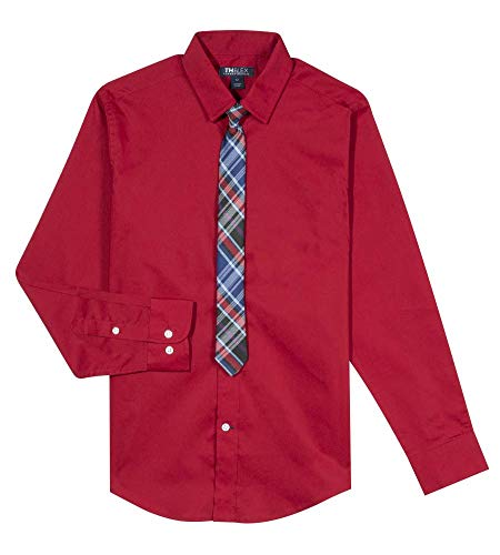 Big Long Sleeve Dress Shirt with Tie, Elaborate Red, 18 ()