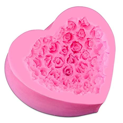 Amazon.com: Mold Flower - Lovely Heart Silicone Soap Mold Flower Rose DIY Form Foadant Soap Making 3D Handmade Decorating Moule Savon Mould Tools