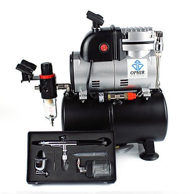 Single Cylinder Piston Compressor with Air Tank &Extra Fan 0.3mm Airbrush Kit For Cake Decoration Temporary Tattoo , 110v by HJLHYL (Image #5)