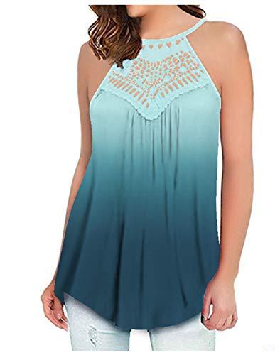 ONLYSHE Tunics for Women Casual Loose Tops Sleeveless Off Shoulder Summer Soft Shirts Tank Light Blue XL