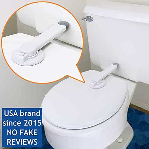 Baby Toilet Lock by Wappa Baby – Ideal Baby Proof Toilet Lid Lock with Arm – No Tools Needed Easy Installation with 3M Adhesive – Top Safety Toilet Seat Lock – Fits Most Toilets – White (1 Pack)