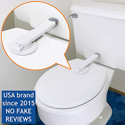 Baby Toilet Lock by Wappa Baby - Ideal Baby Proof Toilet Lid Lock with Arm - No Tools Needed Easy Installation with 3M Adhesive - Top Safety Toilet Seat Lock - Fits Most Toilets - White (1 Pack)