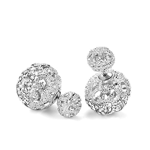 (Fashion 925 Sterling Silver Austria Crystal Pave Disco Ball Studs Earrings for Women/Girls)