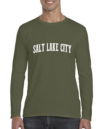Salt Lake City UT Utah Map Home of Aggies Utes University of Utah Mens Long Sleeve Shirts ()