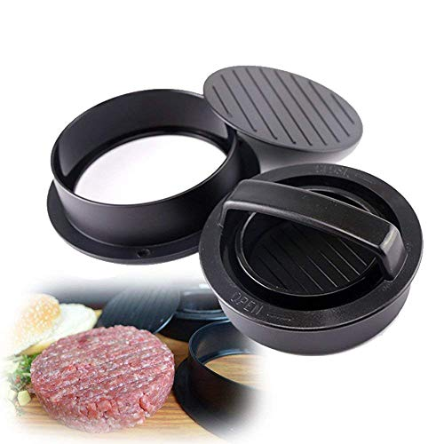 - GIGRIN Hamburger Press Mold, 3 in 1 Burger Press Non Stick Hamburger Patty Maker for Grilling BBQ Essential Kitchen (Black)