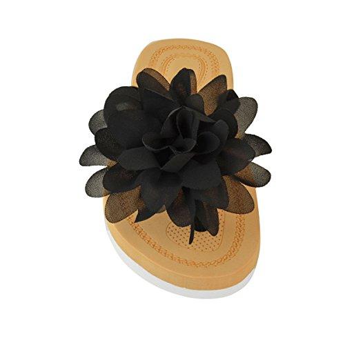 Sandalias planas de plástico con flor para mujer chanclas de verano calzado de playa talla Negro Ante Artificial