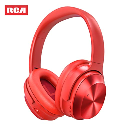 Active Noise Canceling Headphones, RCA Bluetooth 5.0 Headphones Over Ear Wireless Headphones with Mic, Foldable Soft Protein Earpads, 25Hrs Playtime for Travel Work TV PC Cellphone(Red)