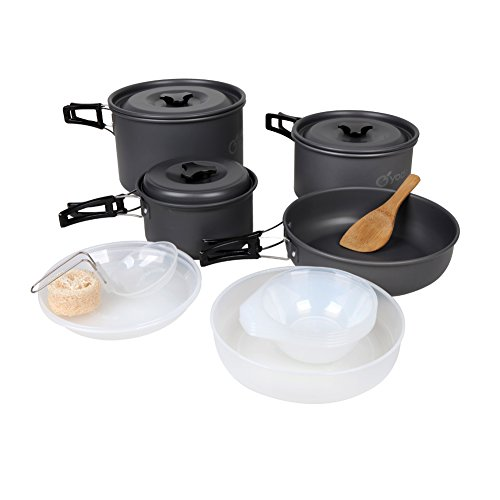 - yodo Anodized Aluminum Camping Cookware Set Backpacking Pans Pot Mess Kit for 4-5 Person