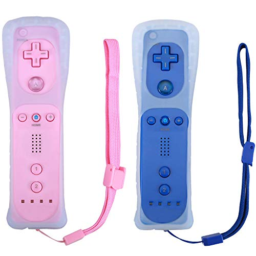 Poulep 2 Packs Gesture Controller with Silicone Case and Wrist Strap for Nintendo wii Wii U Gamepad Console (Pink and Deep Blue)