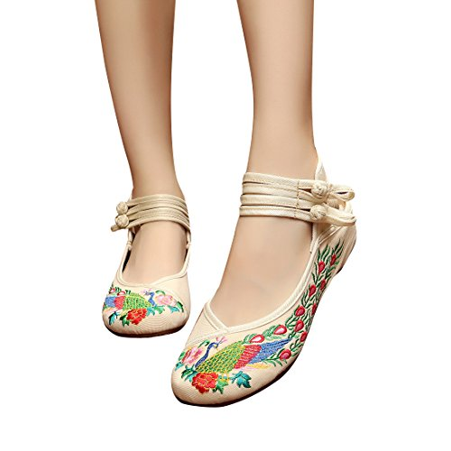 Women's increased heavy-bottomed canvas shoes (white? - 5