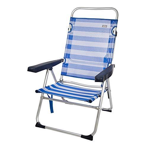 AKTIVE 53956 Silla Plegable multiposición Aluminio Beach, 50 x 64 x 100 cm, Azul Oscuro