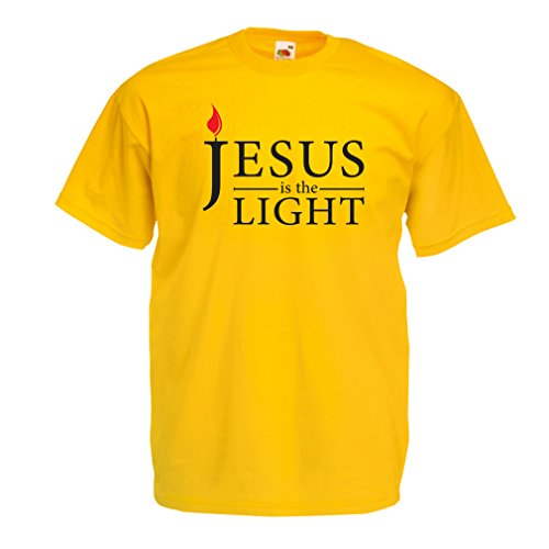 T Shirts for Men Jesus Christ is The Light, God's Love - Easter - Resurrection - Nativity- Religious Christian Gifts (Small Yellow Multi Color)