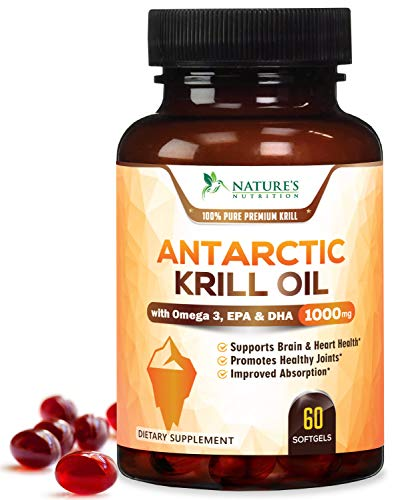 Antarctic Krill Oil (Triple Strength) 1000mg with Omega 3, EPA, DHA, Phospholipids and Astaxanthin - No Fishy Smell or Aftertaste - 100% Pure 3rd Party Tested by Natures Nutrition - 60 Softgels