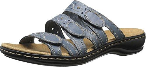 CLARKS Women's Leisa Cacti Slide Sandal, Denim Blue Leather, 5.5 M US
