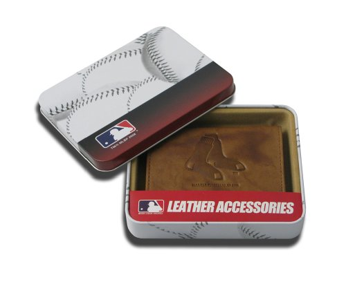 MLB Boston Red Sox Embossed Genuine Cowhide Leather Trifold Wallet Boston Red Sox Wallet