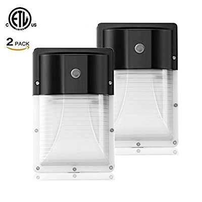 JMKMGL LED Wall Pack Light with Photocell,100-277Vac 2000lm 5000K Daylight White, IP65 Rating,Outdoor Security Area Wall Lights with DLC & ETL