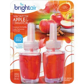 Bright Air Electric Scented Oil Air Freshener Refill, Macintosh Apples & Cinnamon, 2 Pk. - 900255EA, (Pack of 5) (900255EA)