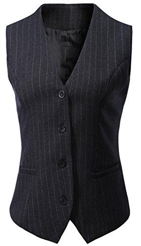 (Vocni Women's Fully Lined 4 Button V-Neck Economy Dressy Suit Vest Waistcoat,Gray pinstripe,US XS+/Asia L)
