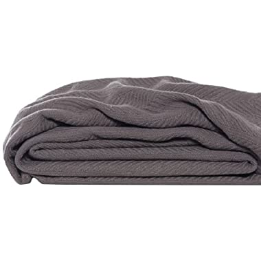 Eddie Bauer 200611 Herringbone Cotton Blanket, King, Mushroom