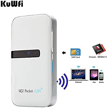 KuWFi 4G Lte Pocket WiFi Router unlocked LTE 4G Mobile WiFi Hotspot Portable 4G Router with sim card slot goods for travel and Business trip Support 3G/4G Network