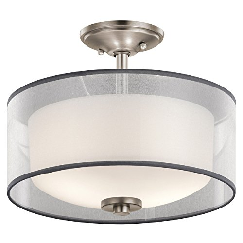 Semi Flush 2 Light With Antique Pewter Finish Steel Material Medium 14 inch 200 Watts