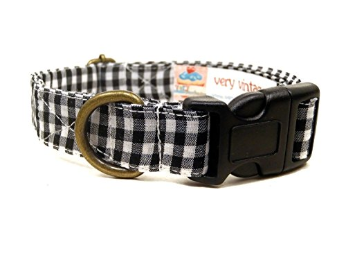 The Edison – White Black Gingham Preppy Hipster Rustic Plaid Organic Cotton Pet Collar – Handmade in the USA