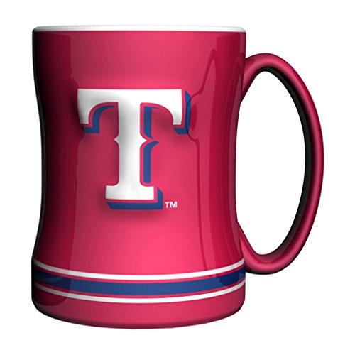Rangers Coffee Mug (MLB Texas Rangers 14-ounce Sculpted Relief Mug Alternate Color, Red)