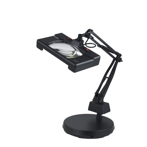 Three 26 Lamp - Electrix 7452 BLACK Wide View Magnifier Lamp, Fluorescent, 3-Diopter, Weighted Base Mounting, 30