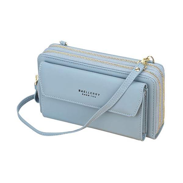 Sacs Bandoulière Femme Pochette Téléphone Portable Sac à Bandoulière pour Téléphone avec Porte Cartes et 2 Fermeture…