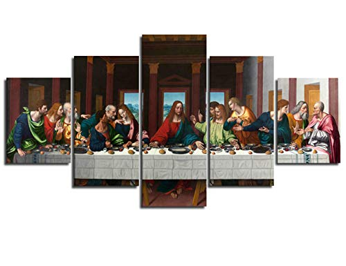 - Art Prints Last Supper Pictures for Wall Classic Art Christ Paintings 5 Piece Giclee Canvas Home Decor Medium Decoration Man`s Room Wall Poster with Frame Ready to Hang(60''Wx32''H)