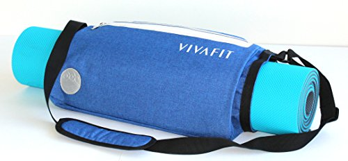 Vivafit Yoga Mat Bag Summer Special- crossbody carrier for all sized yoga mats. Multi-purpose, waterproof sports sling with two zipper pockets for all…
