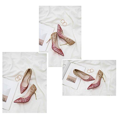 Nouveau Toe Femmes Pointu Couleur Gradient Plumgold De Banquet Chaussures Mariage Chaussures 2018 LINYI Stiletto Heel tTqgAA