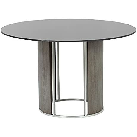 Armen Living LCDLBAGRBS Delano Dining Table With And Brushed Stainless Steel Finish