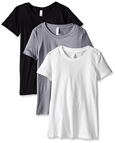 (Clementine Apparel Women's Ideal Crew-Neck T-Shirts (Pack of 3), Black/White/Heather Grey, X-Large)