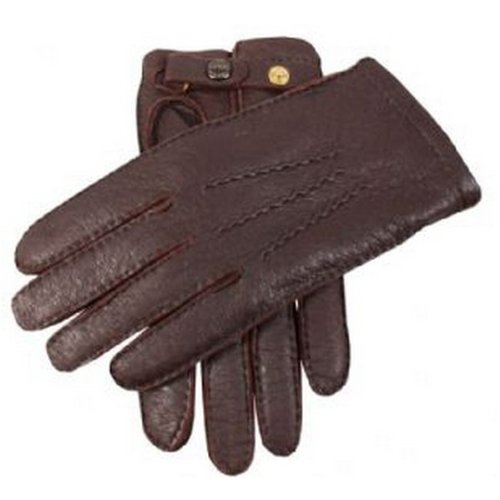 Dents Mens Bark Handsewn Cashmere Lined Peccary Strap Gloves - Brown - Extra Large