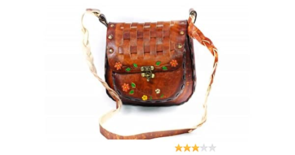 52420f69dc2b Leathertown USA Women's Leather Hand Bag, Genuine Leather-Brown-9.5