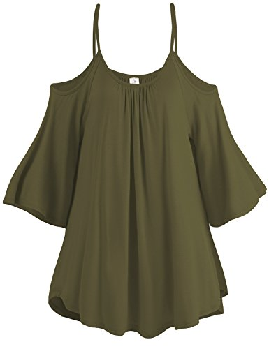 Spaghetti Strap Cold Shoulder Tunic Tops, 003-Olive, US 3XL