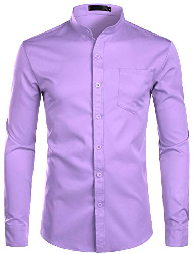 ZEROYAA Men's Banded Collar Slim Fit Long Sleeve Casual Button Down Dress Shirts with Pocket ZLCL09 Lavender Small -